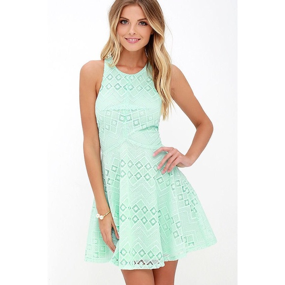 65b9f692f5 Lulu's Dresses | Mint Lace Skater Dress | Poshmark